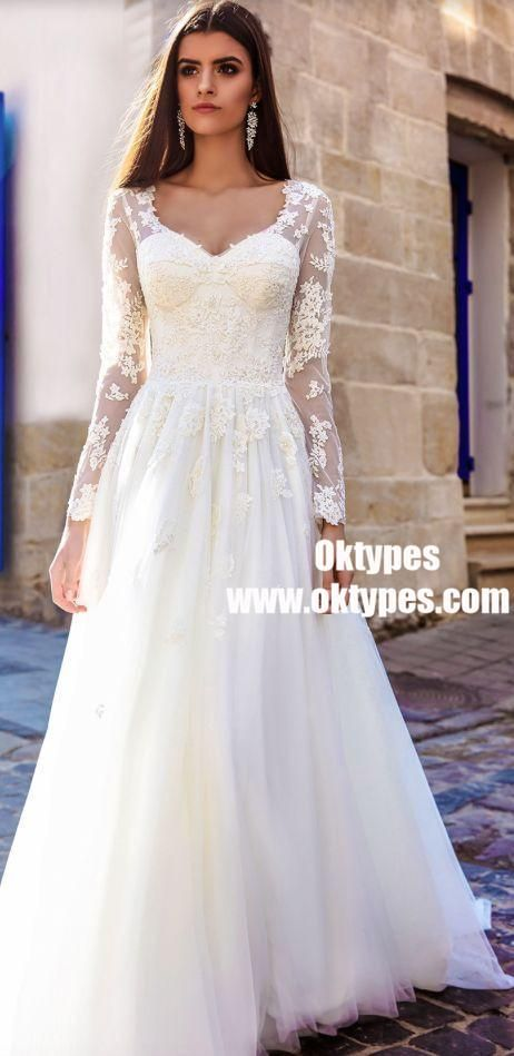 Long Sleeve Lace A-line Cheap Wedding Dresses Online, TYP0878