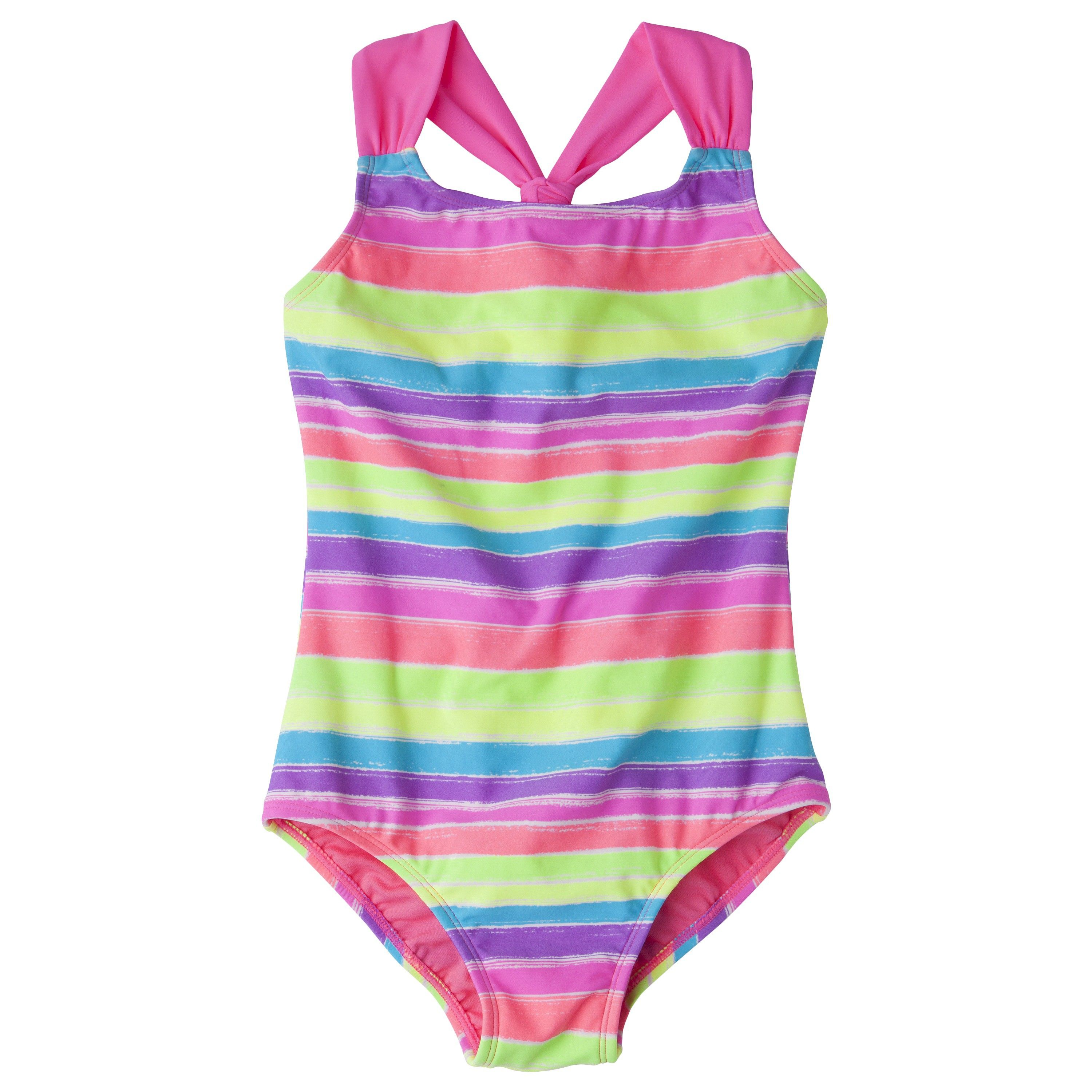 Girls' 1-Piece Striped Swimsuit Target