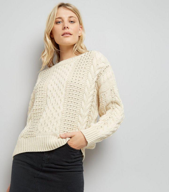 Pull Style En Perles Écru Orné Torsadée Maille De That Look New rZrSx5z