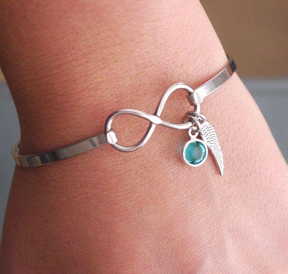 Angel Wing Bracelet Birthstone Infinity Miscarriage Bra