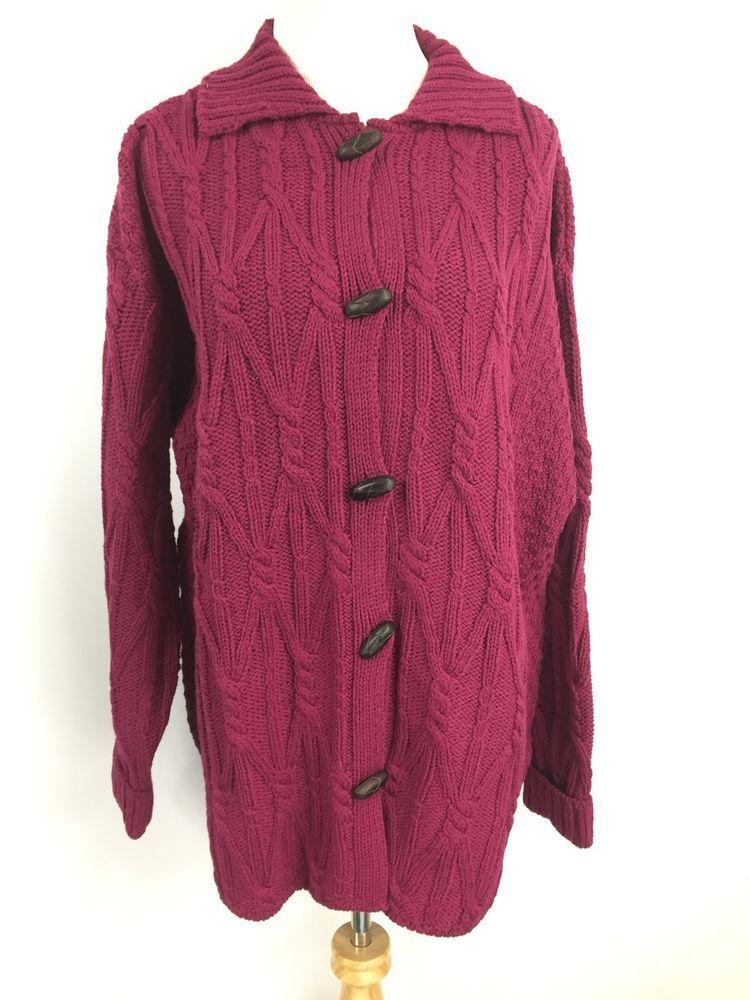 b9f26edf56a Arancrafts Womens Cardigan Cableknit Sweater 100% Wool Ireland Duster Sz  XXL
