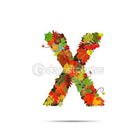 Colores de otoño hojas. Letra X— Vector de stock #38281077   El ...