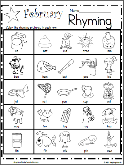 Kindergarten Rhyming Worksheets For February