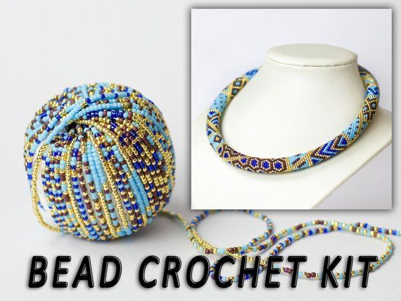 1a957494a76d7 Jewelry making kit Bead crochet kit Modern necklace Patchwork ...