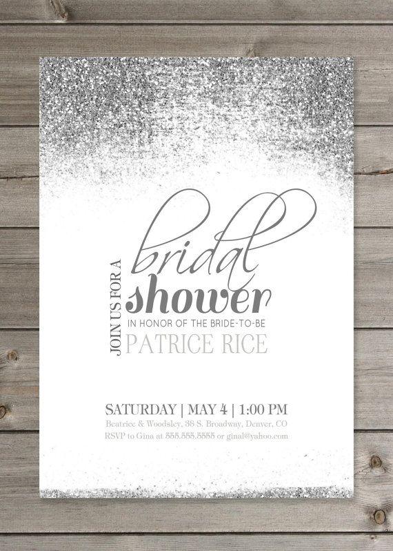 bridal shower glitter invitation 5x7 by gaiadesignstudios on etsy