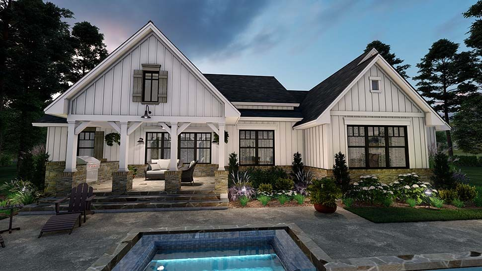 Photo of Southern Style House Plan 75160 with 4 Bed, 3 Bath, 2 Car Garage