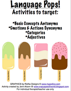Language Pops-4 fun and different activities for various language concepts, all with popsicles! From Crazy Speech World. Pinned by SOS Inc. Resources @sostherapy.