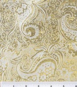 Brocade Fabric-Gold Metallic Paisley