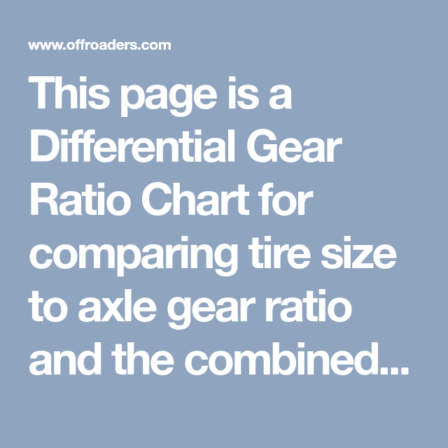 This page is a Differential Gear Ratio Chart for comparing
