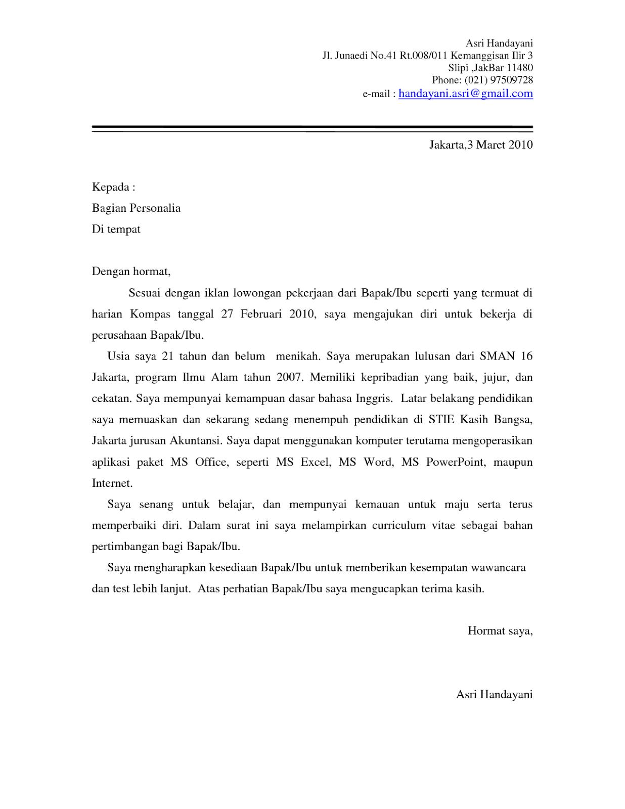 Contoh Surat Lamaran Kerja Sebagai Staff Administrasi Cute766