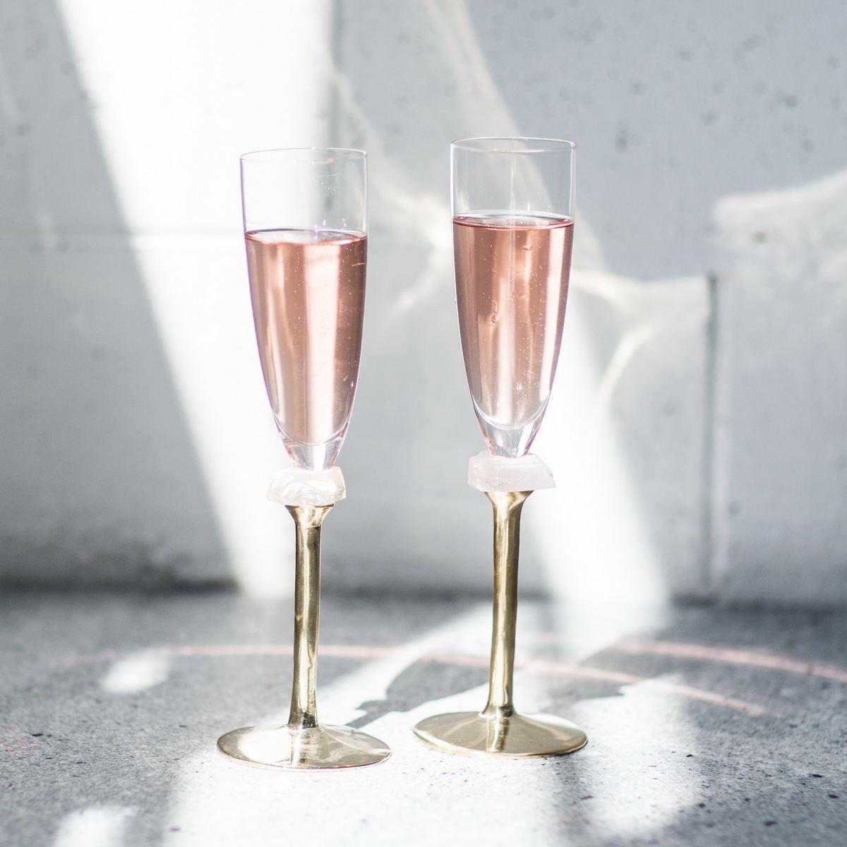 Annavasily Gaby 2pcs Modern Champagne Glasses On A Gold Stem Modern Champagne Glasses Gold Champagne Flutes Champagne Glasses