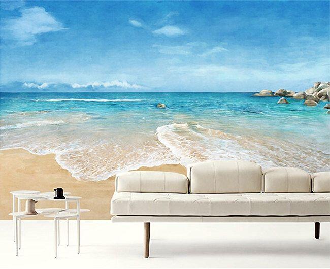 Beach scene wallpaper epic sea wall mural blue ocean wall for Beach scene mural