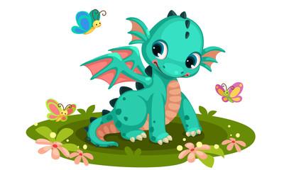 Cute Dragon Cartoon Photos Royalty Free Images Graphics Vectors Videos Adobe Stock Baby Dragon Cute Dragon Drawing Cartoon Butterfly