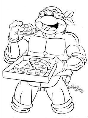 teenage mutant ninja turtles turtle eating pizza coloring page