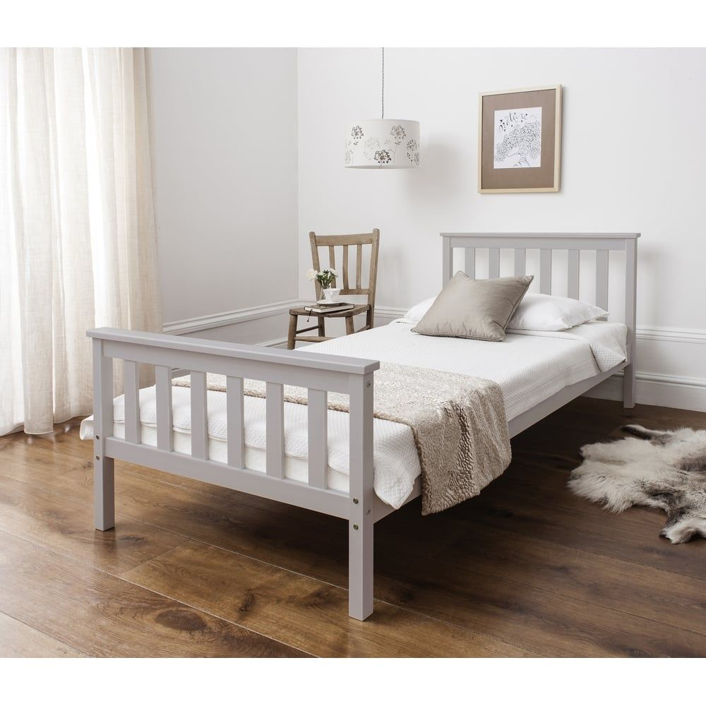 Dorset Single Bed In Grey In 2020 White Wooden Bed White Double