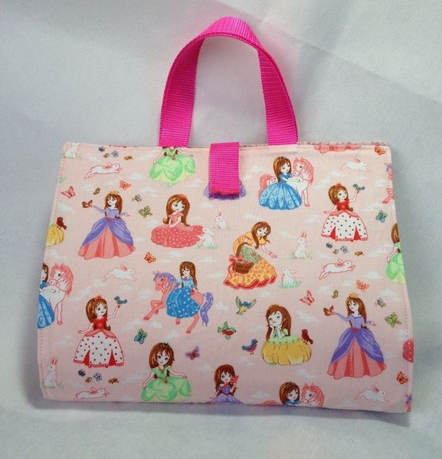 Princess Activity Carry Busy Bag with 5 A5 ziplock plastic pouches