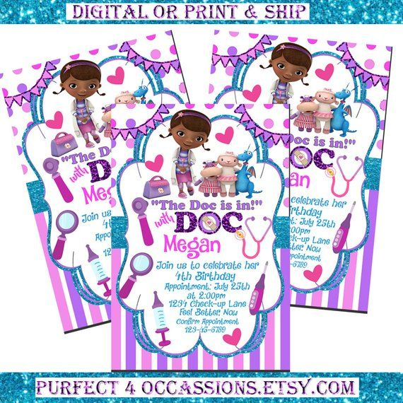 Doc McStuffins Theme Personalized Birthday Invitations Party