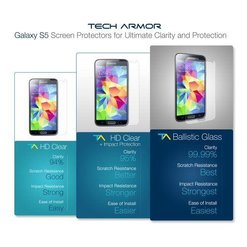Tech Armor Samsung Galaxy S5 Premium Ballistic Glass Screen Protector - Protect Your Screen from Scratches and Drops - Maximize Your Resale Value - 99.99% Clarity and Touchscreen Accuracy - http://www.rekomande.com/tech-armor-samsung-galaxy-s5-premium-ballistic-glass-screen-protector-protect-your-screen-from-scratches-and-drops-maximize-your-resale-value-99-99-clarity-and-touchscreen-accuracy/