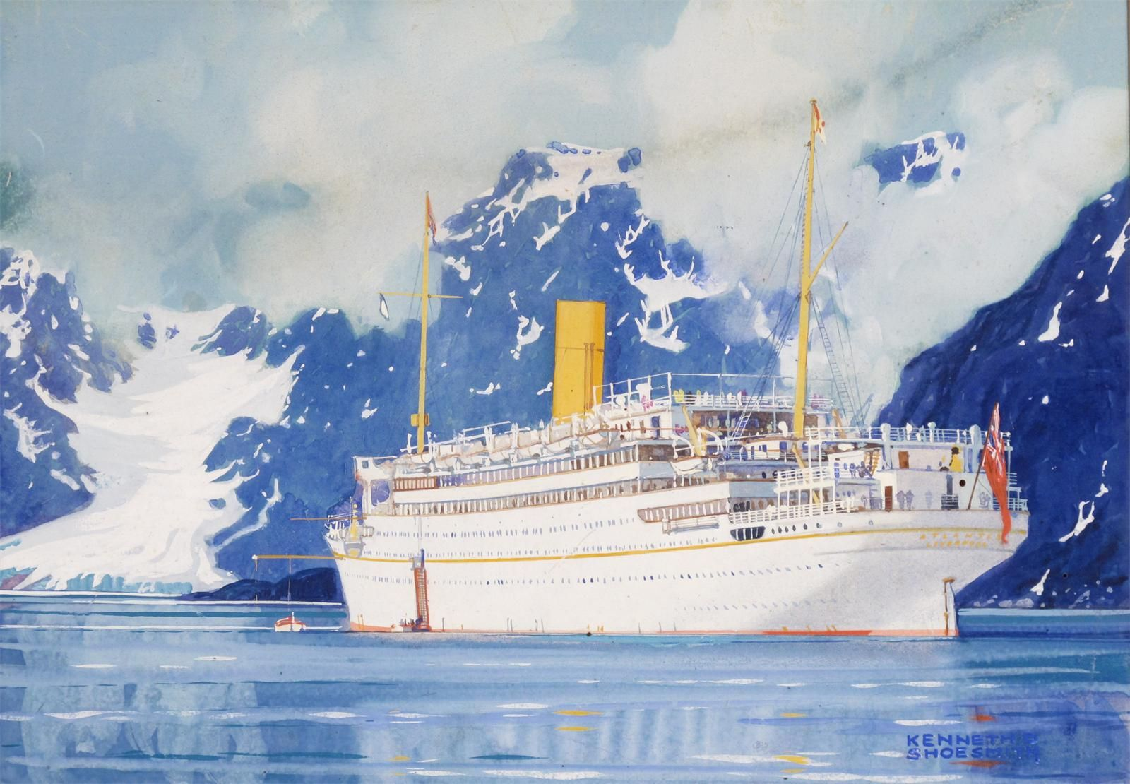 Kenneth Denton Shoesmith 1890 1939 Rms Atlantis In A Fijord Ship Poster Ship Paintings Boat Art