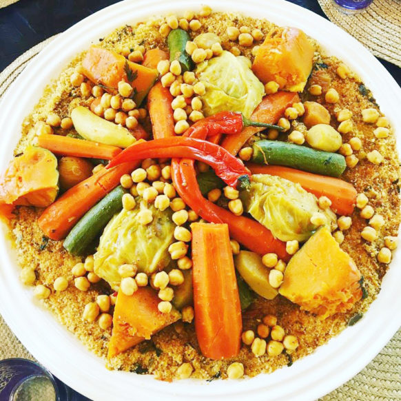 Moroccan Couscous With 7 Vegetables Moroccan Couscous Couscous Dishes Vegetable Couscous