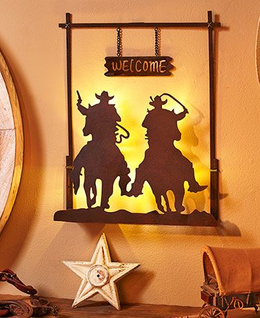 Lighted Western Wall Silhouette | Rustic wall decor, Rustic walls ...