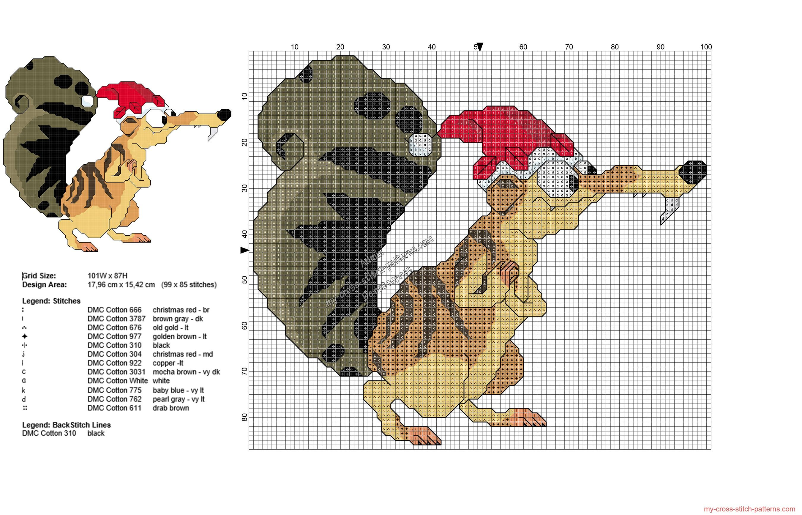 Ice Age Christmas Scrat free cross stitch pattern 99x85 | CROSS ...