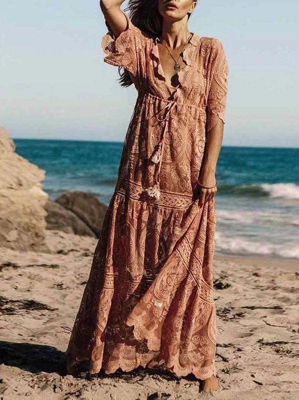 Lace Loose Boho Maxi Dress 7
