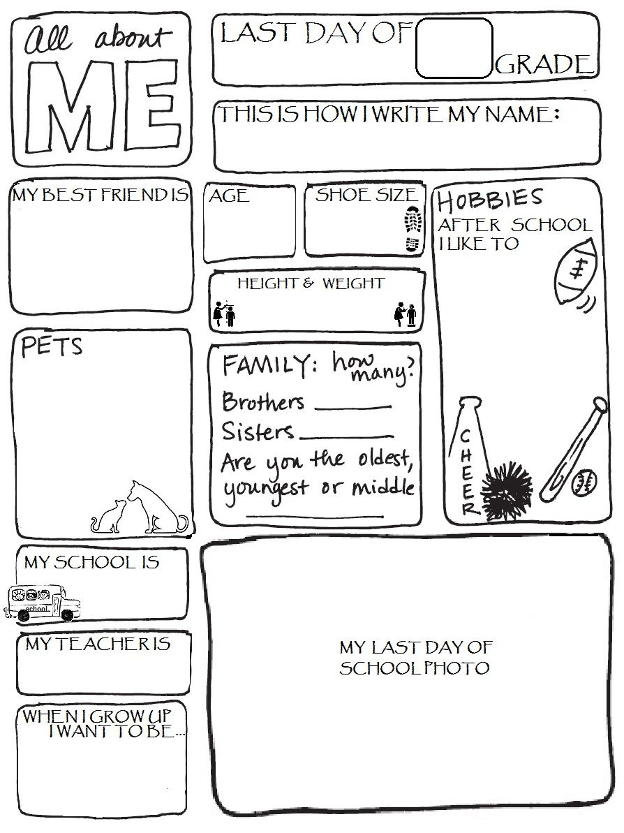 small resolution of LAST DAY OF SCHOOL-ALL ABOUT ME WORKSHEET   School worksheets
