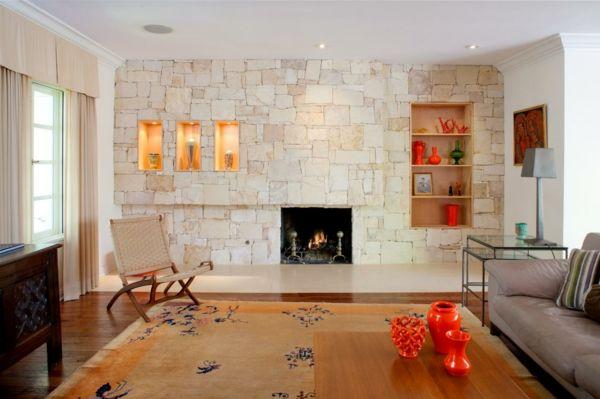 Wandverkleidung Steinoptik Steinwand Im Wohnzimmer