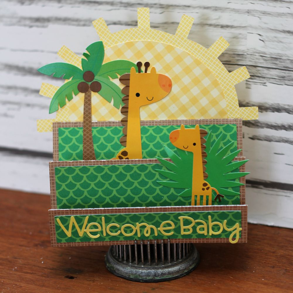 Zoo animal scrapbook ideas - Doodlebug Design Welcome Baby Card At The Zoo