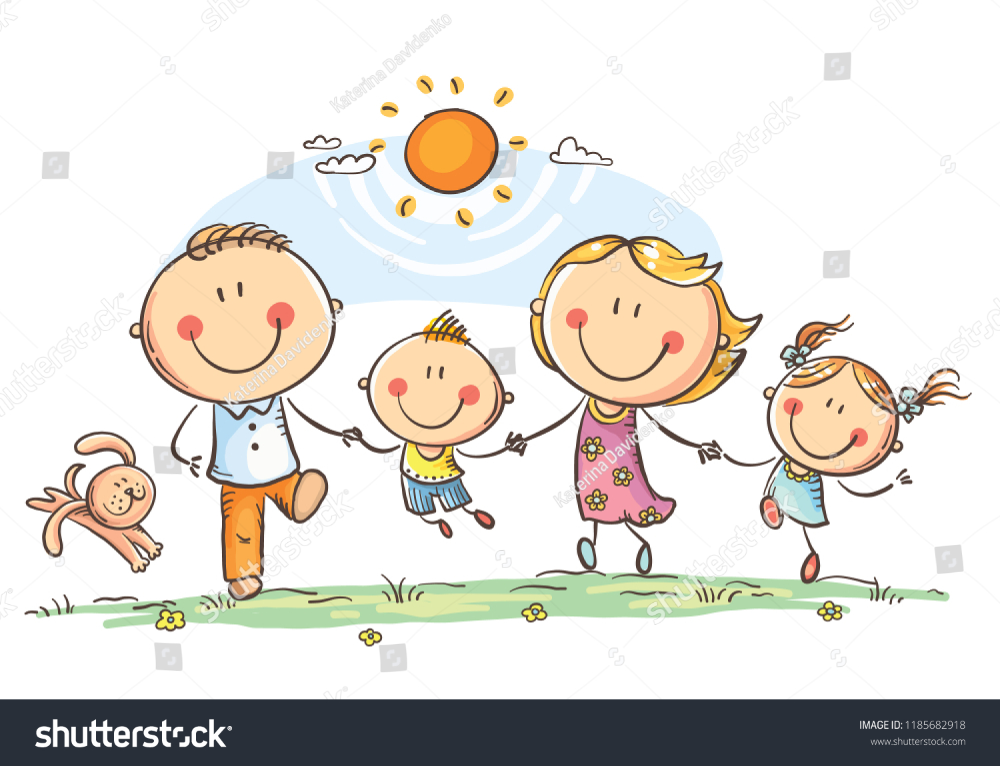 Happy Family Two Children Having Fun Stock Vector Royalty Free 1185682918 In 2020 Family Drawing Family Cartoon Art Drawings For Kids