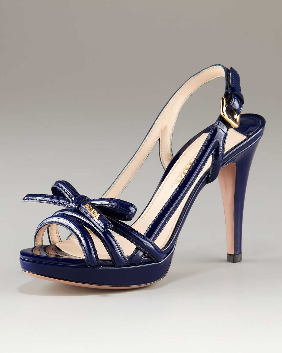 42e569ae94e9 Prada Platform Patent Multi Strap Sandal with Bow in Blue (royal ...