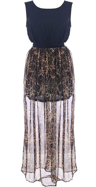 Wild Waterfall Dress: Features a black chiffon bodice with open lower back, flowing leopard-printed chiffon skirt with inner lining for full coverage, and a centered back zip closure to finish.