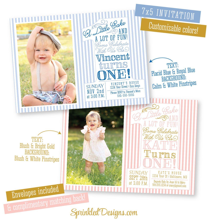 First Birthday Invitation PHOTO Card Boy Girl by SprinkledDesign
