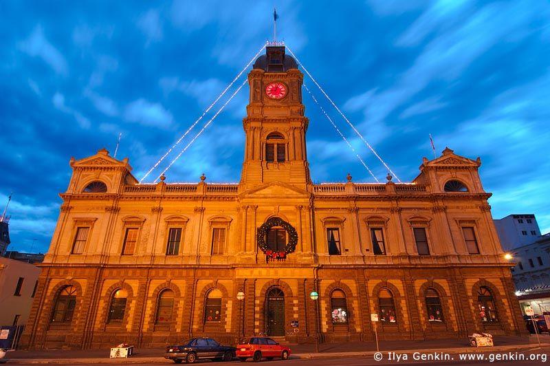 Ballarat Town Hall at Dusk, Ballarat, VIC, Australia.