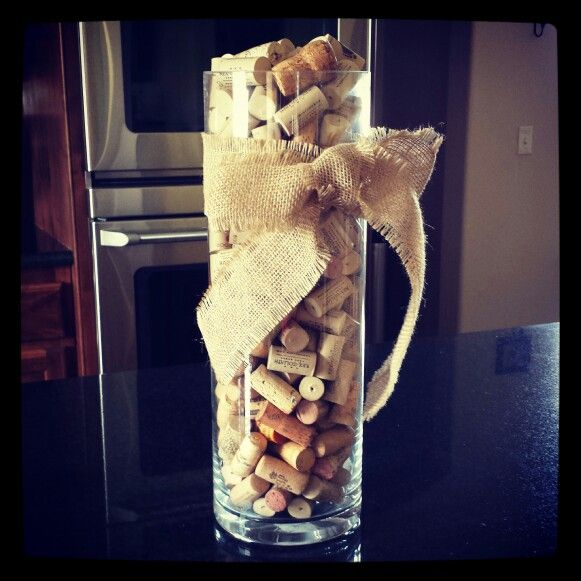 Wine Cork Wedding: Wine Cork Centerpiece Maybe Make With Smaller Vase Or