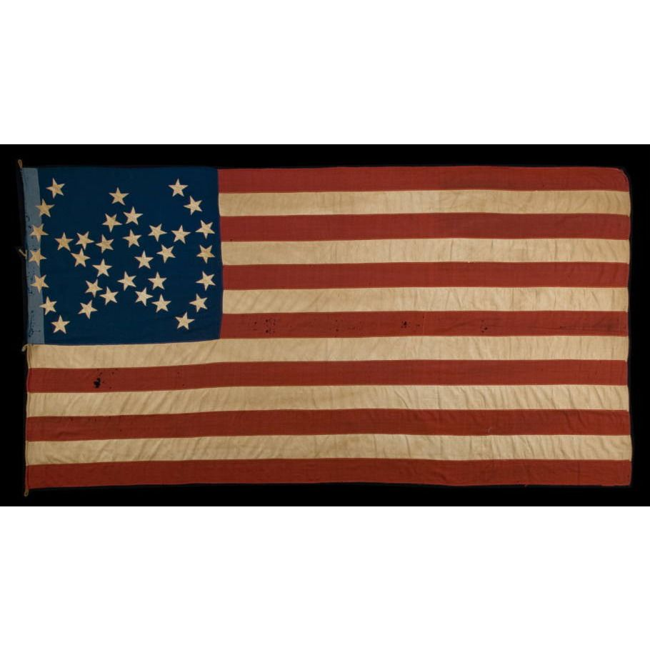 34 Star American National Flag With A Unique Great Star Pattern Flanked By Arched Brackets Civil War Period 1861 6 Civil War Civil War Flags Civil War Era