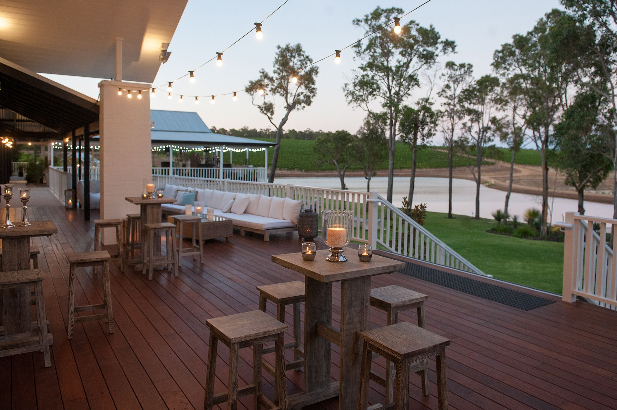The charming outdoor decking that overlooks the playground and dam. Located just outside the reception room, it's a lovely little retreat into the fresh air.
