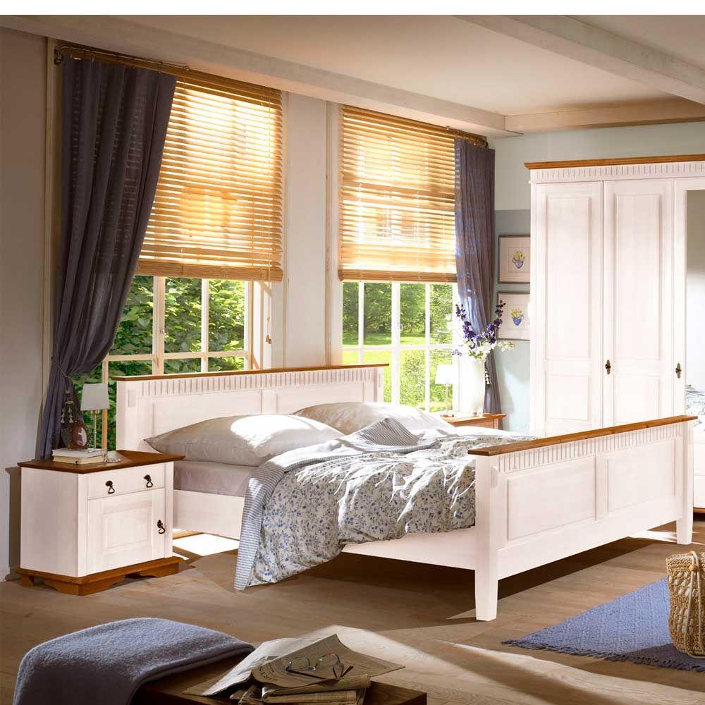Schlafzimmer Set aus Pinie Massivholz Weiß (3teilig