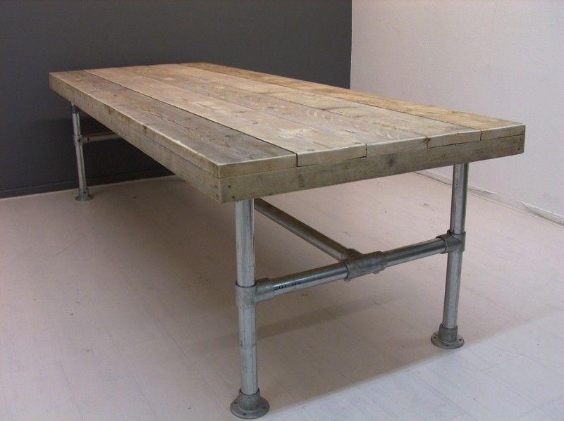 Steigerbuis Tafel Onderstel : Tafel met steigerbuis onderstel en steigerhouten blad