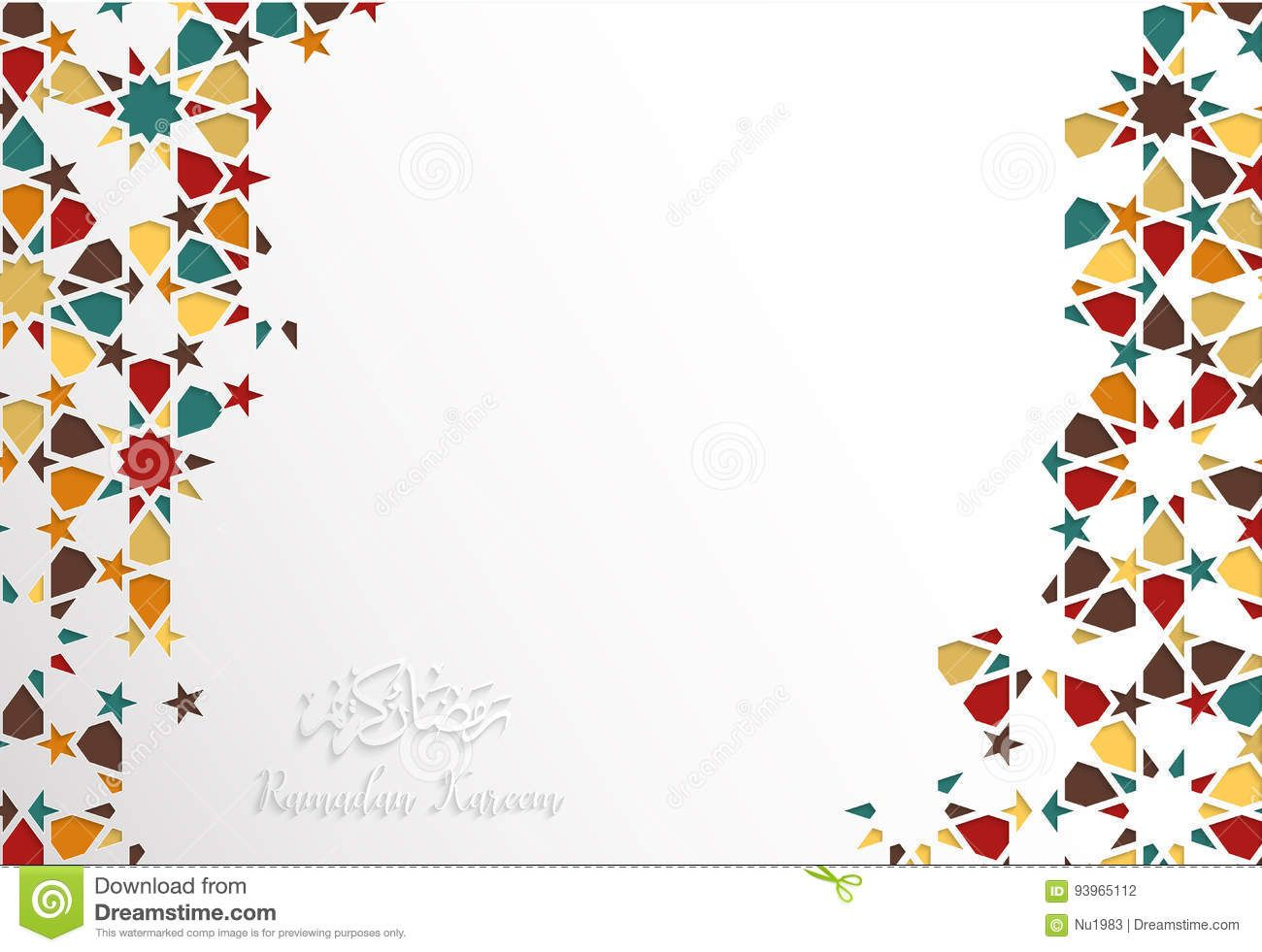 Islamic Design Greeting Card Template For Ramadan Kareem With Co