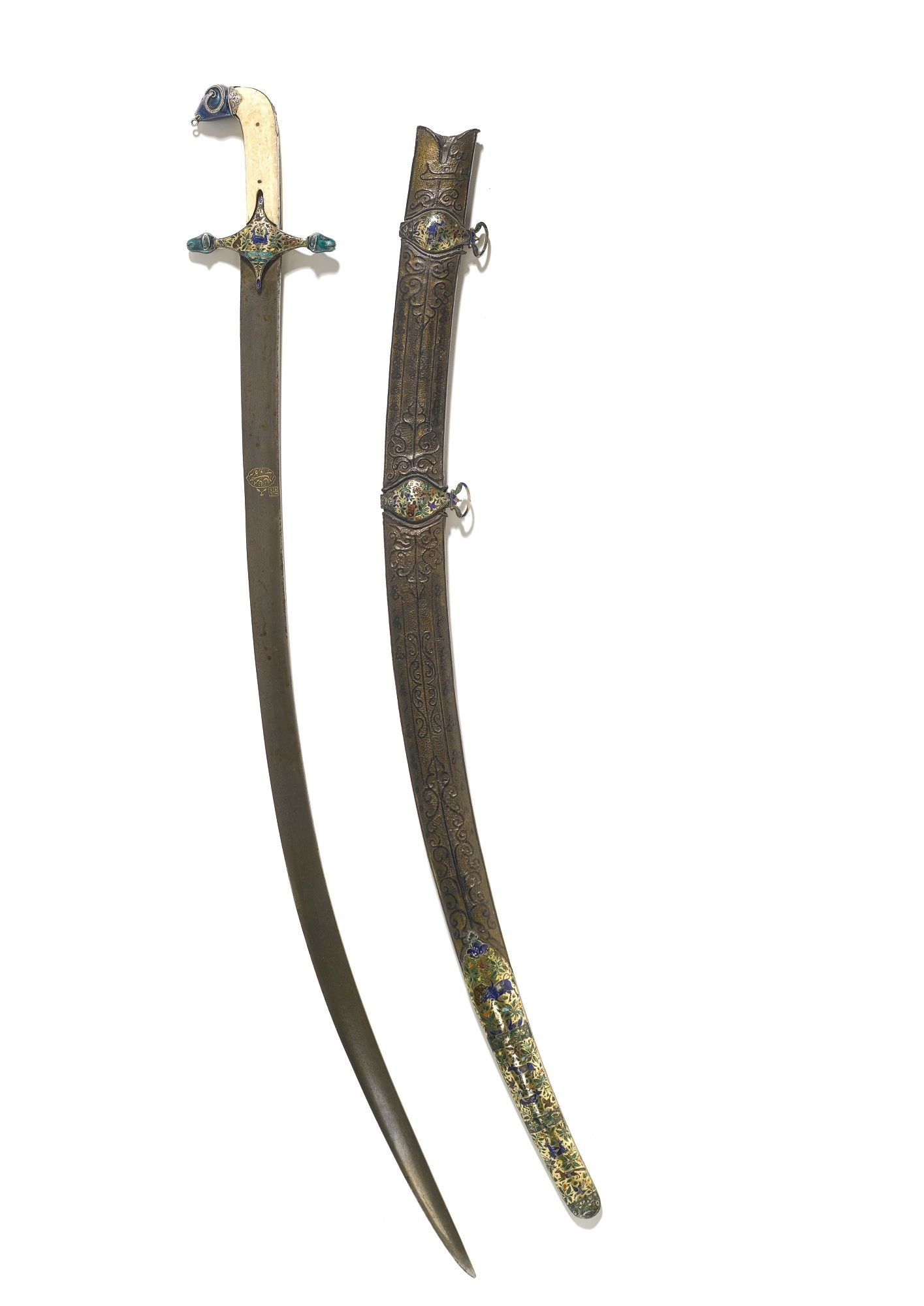 A sword (shamshir) with marine-ivory grips and enamel mounts with leather scabbard, probably Lucknow, late 18th/early 19th century