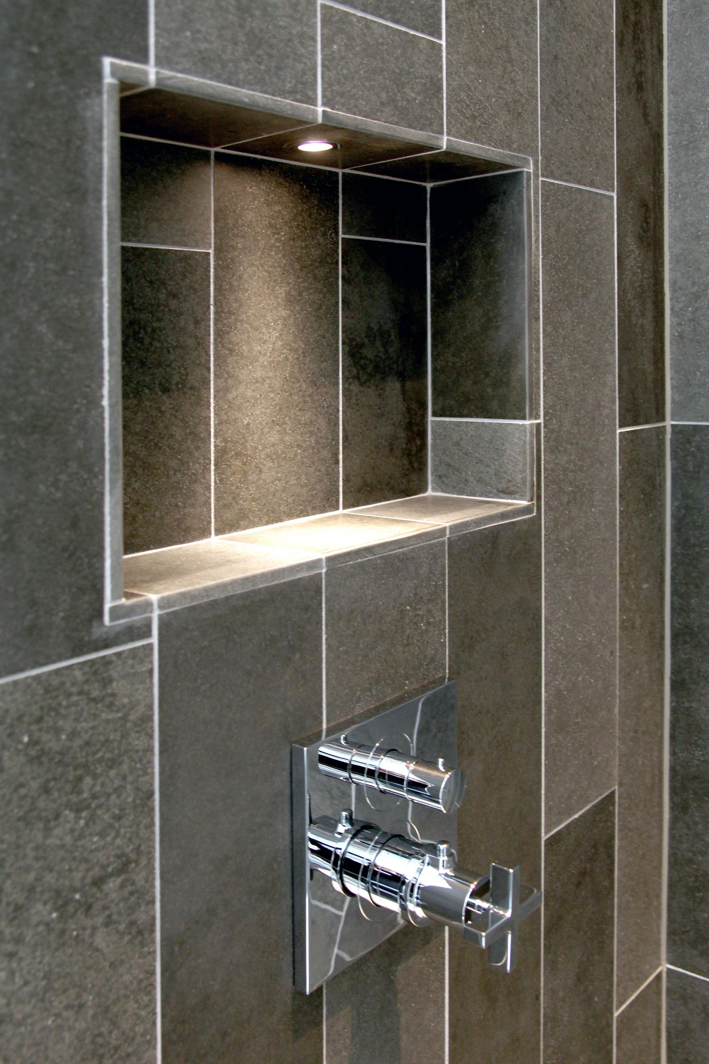 A Mini Downlights Stops A Shower Niche From Becoming A Black Hole In The Wall Especially Important If Your Til Shower Niche Bathroom Wall Tile Bathroom Niche