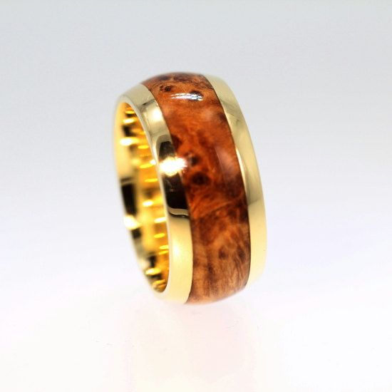 mens wood ring black ash burl wood inlay on 18k yellow gold band reclaimed - Mens Wood Wedding Rings