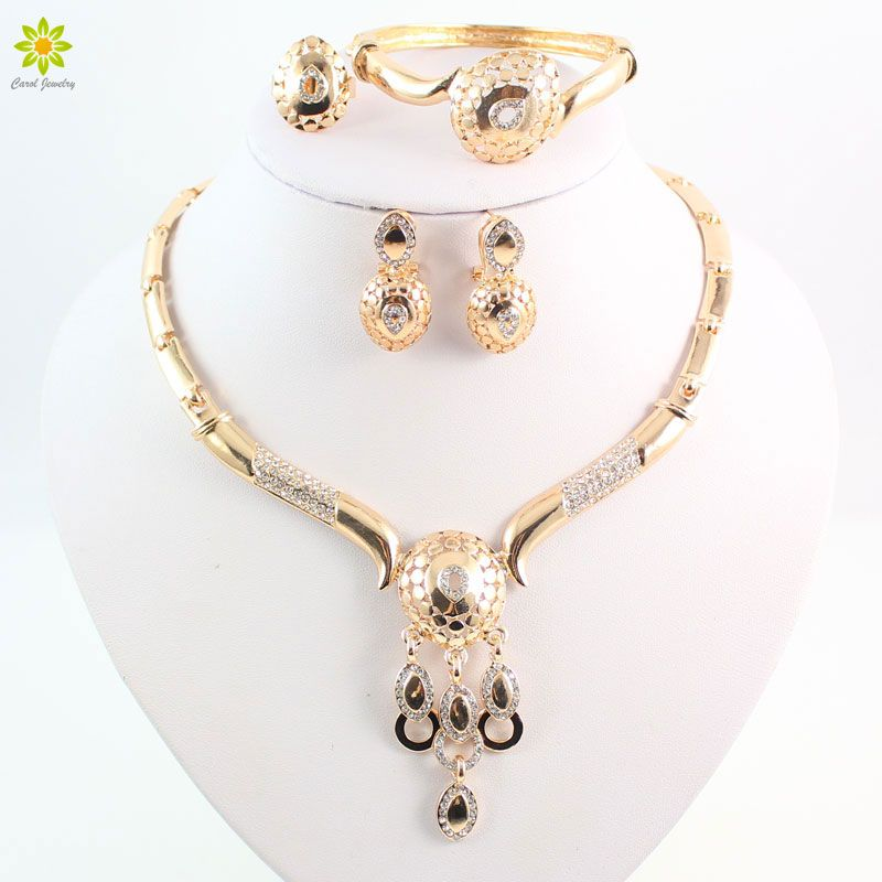 New Design Dubai Women Fashion Jewelry Set Australia Crystal Gold