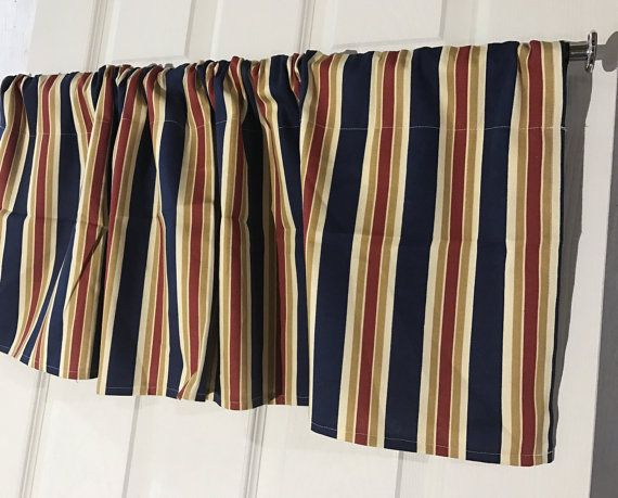Waverly Navy Blue Red And Tan Striped Curtain Valance
