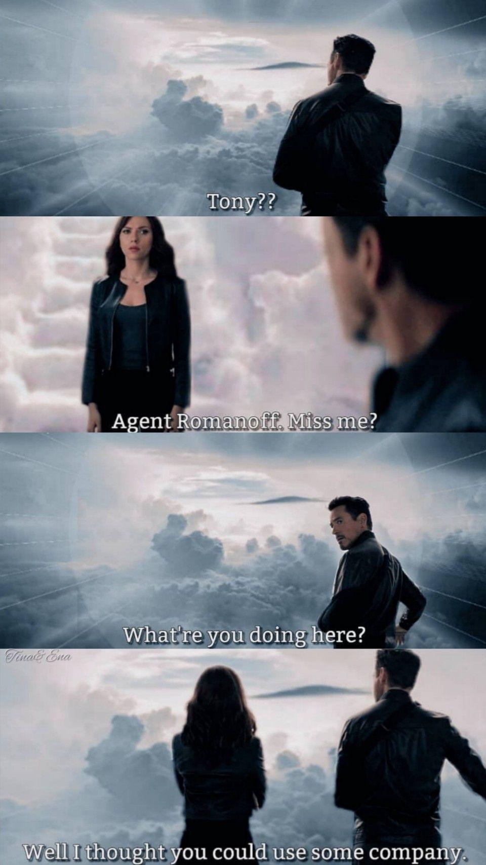 "The Avengers Endgame 💖 Tony Stark & Natasha Romanoff lockscreen ❤️ ""Agent Romanoff. You miss me?"""