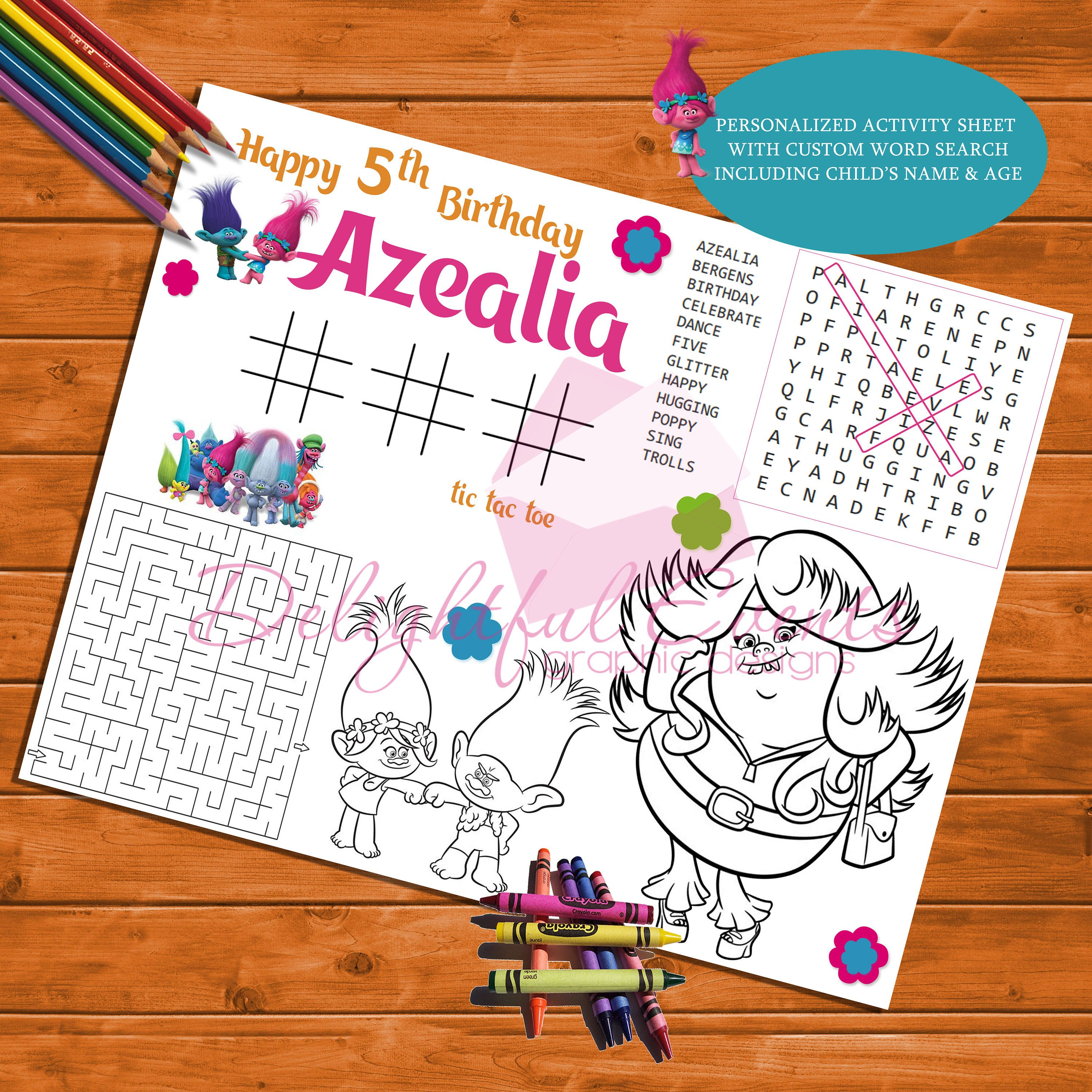 Trolls Birthday Personalized Activity and Coloring Sheet ...