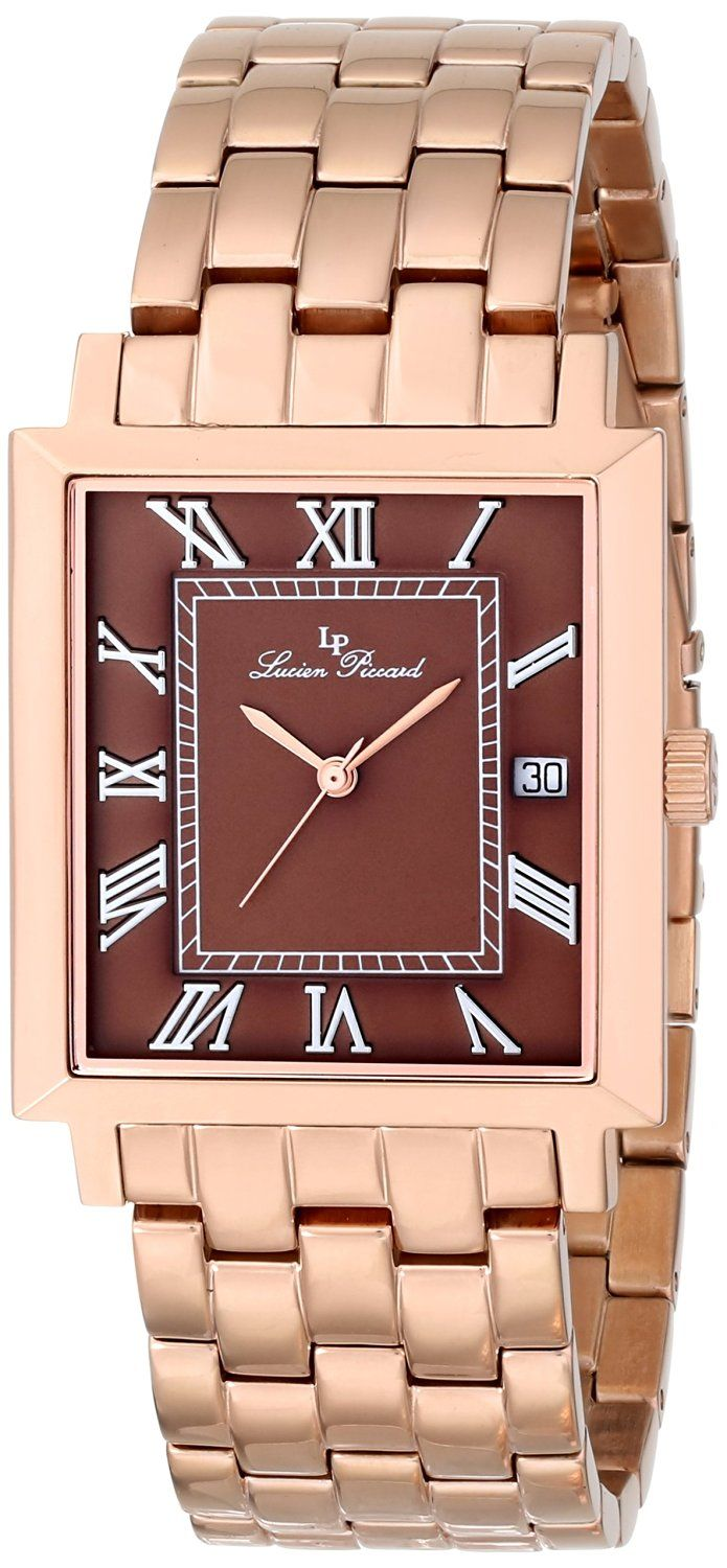 Lucien Piccard Men's LP-10501-RG-44 Bianco Brown Dial Rose Gold Ion-Plated Stainless Steel Watch -- Visit the image link more details.