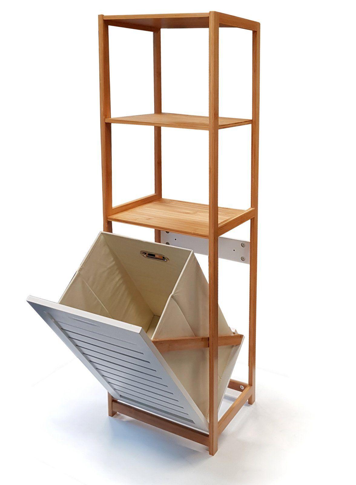 Badregal Nordic Aus Bambus Mit Waschekorb Ausklappbar Die Warme